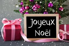 Tree With Gifts, Snowflakes, Joyeux Noel Means Merry Christmas Stock Photos