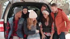 Group of six friends take a selfie in an open car hatchback Stock Footage