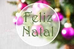 Blurry Balls, Rose Quartz, Feliz Natal Means Merry Christmas Stock Photos