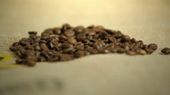 Imported and roasted coffee beans Stock Footage