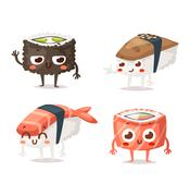 Sushi character vector isolated Stock Illustration