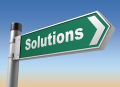 Solutions road sign 3d illustration Stock Illustration