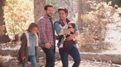 Male parents, baby and daughter walking in woods, close up Stock Footage