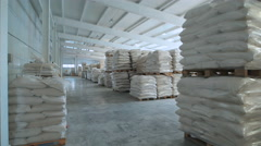 In a warehouse in bags rice, groats and a flour is prepared for sending to the Stock Footage