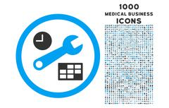 Date and Time Setup Rounded Icon with 1000 Bonus Icons Stock Illustration