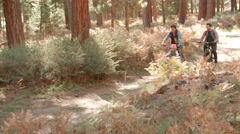 Proud male parents and young daughter cycle past in forest Stock Footage