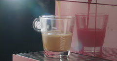 Espresso cup filling with coffee Stock Footage