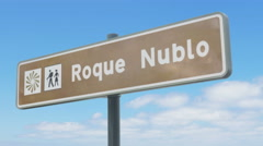 Road sign indicating the direction to Roque Nublo in Gran Canaria Stock Footage