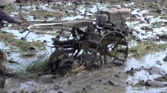 Man plowing a rice field with 2 wheels mud tractor Stock Footage