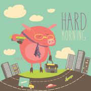 Funny sleepy pig going to work Stock Illustration