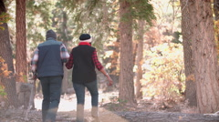 Senior black couple hiking in a forest, back view Stock Footage