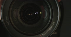 Macro shot of a video zoom lens Stock Footage