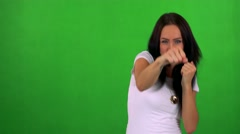 Young pretty woman does box - green screen - studio  Stock Footage