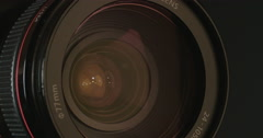 Close up of a video zoom lens focusing Stock Footage