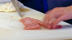 Tuna fish filet sushi restaurant 4k video. Chef cook cutting. Japanese cuisine Stock Footage