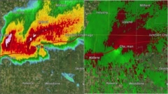 2016 Solomon/Abilene/Chapman, KS Tornado Doppler Radar (Split Screen) Stock Footage