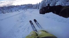 FPV: Skiing through freshly snowed forest in beautiful mountain ski resort Stock Footage