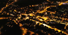 "Aerial Footage of ""Schwyz"" city in Central Switzerland during the night, 4K, UHD Stock Footage"