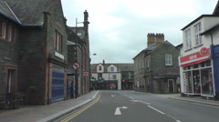 Driving in Keswick town centre center, England Stock Footage
