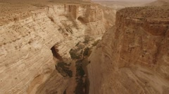 Ein Avdat - Canyon overview (Israel aerial footage) Stock Footage