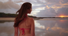 Woman standing at the beach admiring the sunset. Rear view of woman in her 20s Stock Footage