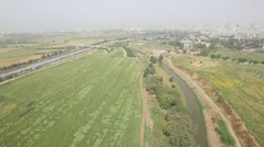 Ayalon Valley - Ayalon River (Israel aerial footage) Stock Footage
