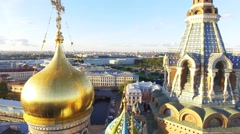 Aero video filming of the cathedral Church of the Savior on Blood at sunset Stock Footage