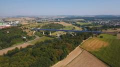 Ttrain bridge over River Lahn, Germany Stock Footage