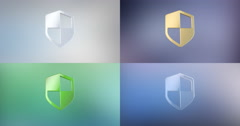 Defend Shield 3d Icon Stock Footage
