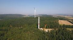 Construction site of a wind turbine, wind park Stock Footage