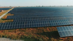Aerial view Solar panels Photovoltaic system bird's-eye view Stock Footage