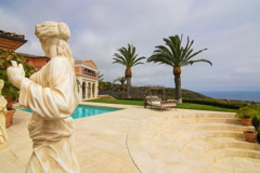 5K MoCo Pan Time Lapse Overview at Multi-million dollar Mansion in Newport Beach Stock Footage