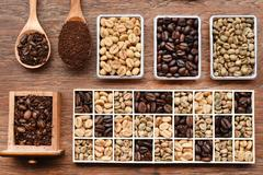 Different coffee forms in wooden box and ground coffee in wooden spoon Stock Photos
