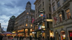 Walking in shopping area of Vienna, Austria Stock Footage