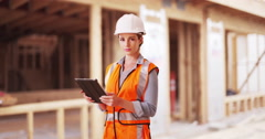 Portrait of young woman construction manager. Confident successful woman manager Stock Footage