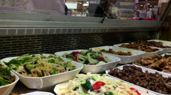 Motion of display side dish inside T&T supermarket with 4k resolution Stock Footage