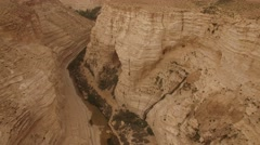 Ein Avdat - Over the canyon and Tsin Wadi (Israel aerial footage) Stock Footage