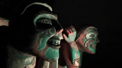 Wooden first nations sculptures Stock Footage