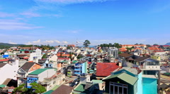 Upper View of Tropical City with Colorful Buildings Stock Footage