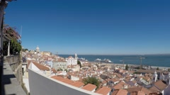 Lisboa, Portugal. viewpoint Largo das Portas do Sol. Stock Footage