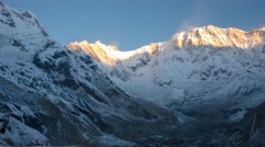 Annapurna basecamp sunrise timelapse Himalayas, Nepal Stock Footage