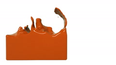 Turbulent orange liquid filling a container. Colored paint Stock Footage