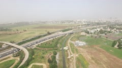 Israel, Ayalon Valley- Smog over Tel-Aviv, Traffic jam at highway aerial footage Stock Footage