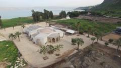 Israel, Magdala - Boat Chapel aerial footage Stock Footage