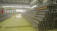 Warehouse of the rails in a steel mill Stock Footage