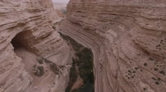 Ein Avdat - Through the canyon over Wadi Tsin (Israel aerial footage) Stock Footage