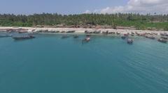 Zanzibar Boats Shot towards shore  Stock Footage