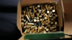 Bullet manufacturing box filling. Stock Footage