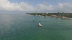 Sailboats at Sea in Zanzibar  Stock Footage