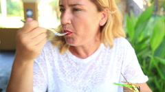 Attractive woman at the reataurant eating pasta Stock Footage